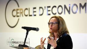 Conferencia de la vicepresidenta tercera del Gobierno y ministra de Asuntos Económicos, Nadia Calviño, en el Cercle d'Economia.