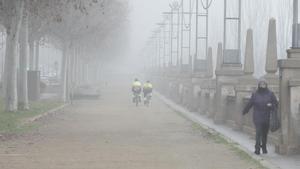 Niebla en las laderas del río Segre, en Lleida.