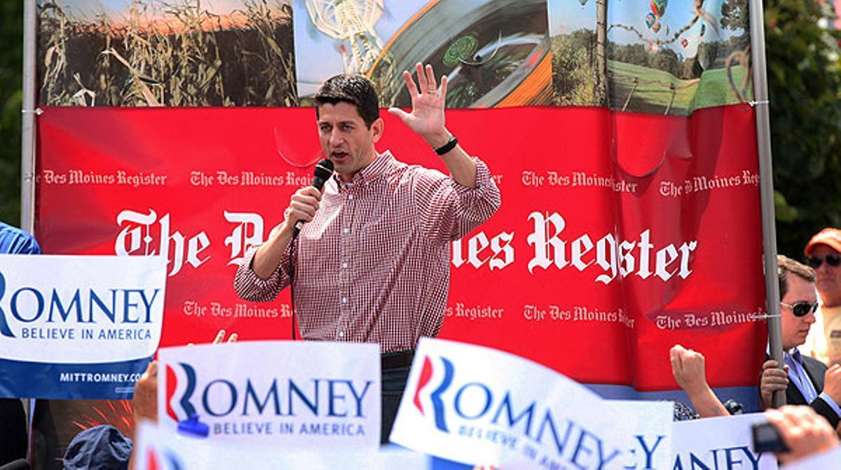 Paul Ryan, increpado en su primer mitin en Des Moines (Iowa)
