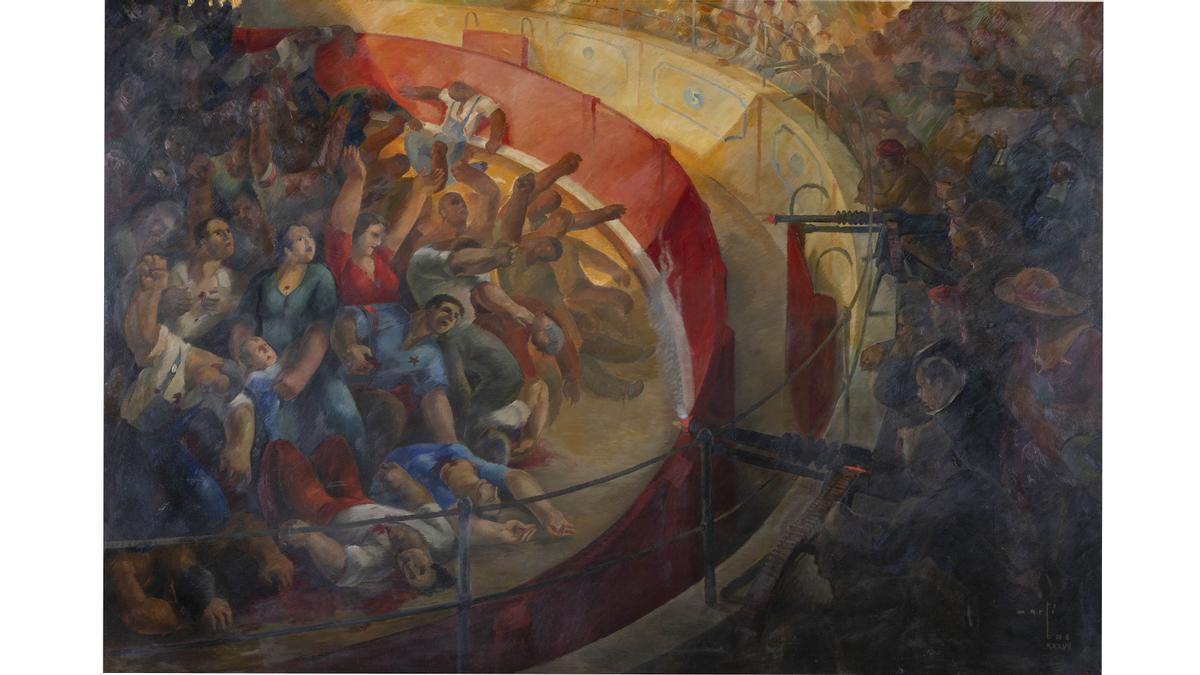 El óleo 'Fusilamientos en la plaza de toros de Badajoz', de Martí Bas (1937).