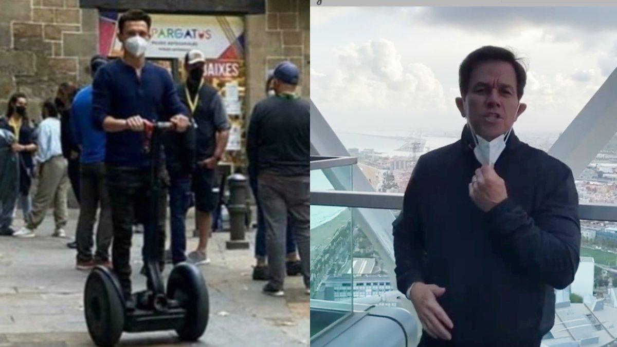 Tom Holland, en 'segway' por el Gòtic, y Mark Wahlberg, desde el Hotel Arts, durante su rodaje en Barcelona.