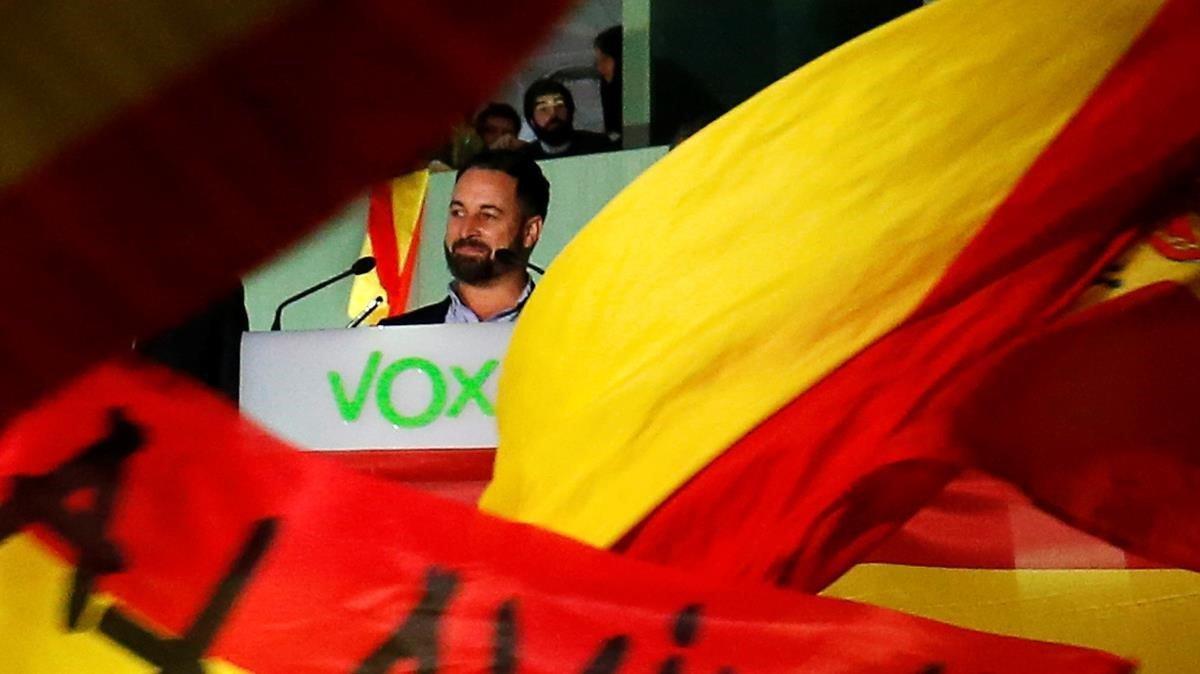 Santiago Abascal, tras conocer los resultados electorales de VOX el pasado 10 de noviembre