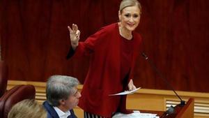 Cristina Cifuentes, el pasado 5 de abril en la Asamblea de Madrid.
