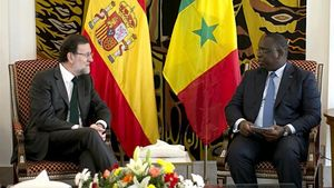 El president del Govern, Mariano Rajoy, durant la reunió que ha mantingut a Dakar amb el president senegalès, Macky Sall.