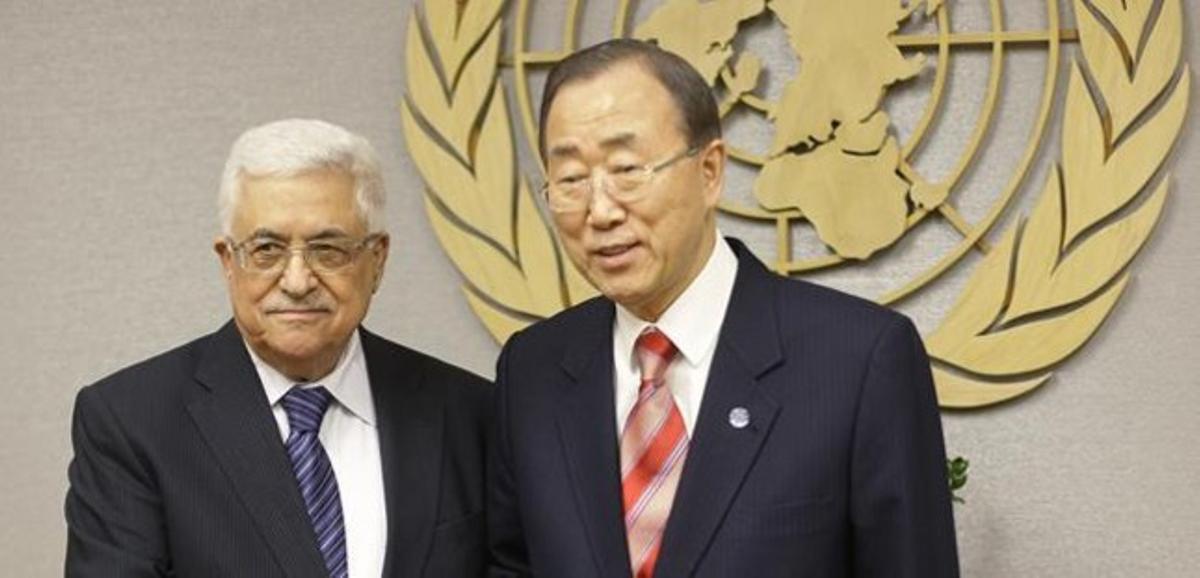 Mahmud Abbás con el secretario general de la ONU, Ban Ki-moon.