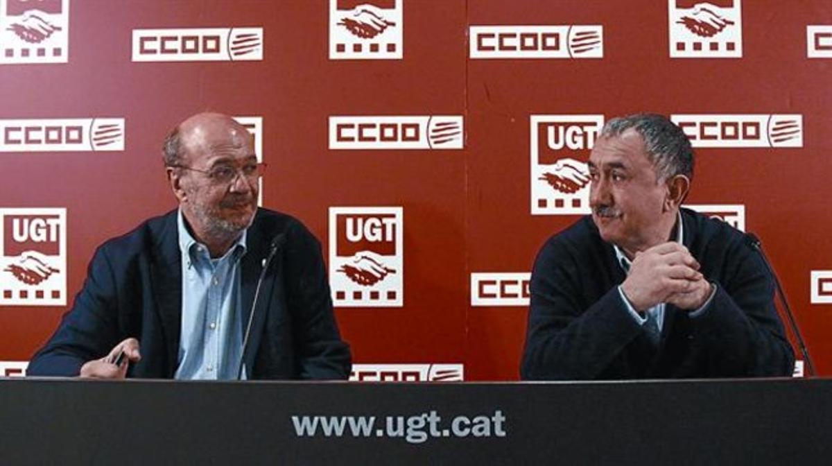 Los dirigentes de CCOO y UGT de Catalunya, Joan Carles Gallego y Josep Maria Álvarez.