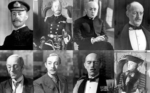 Los ocho personajes deAlec Guinness en 'Ocho sentencias de muerte'.