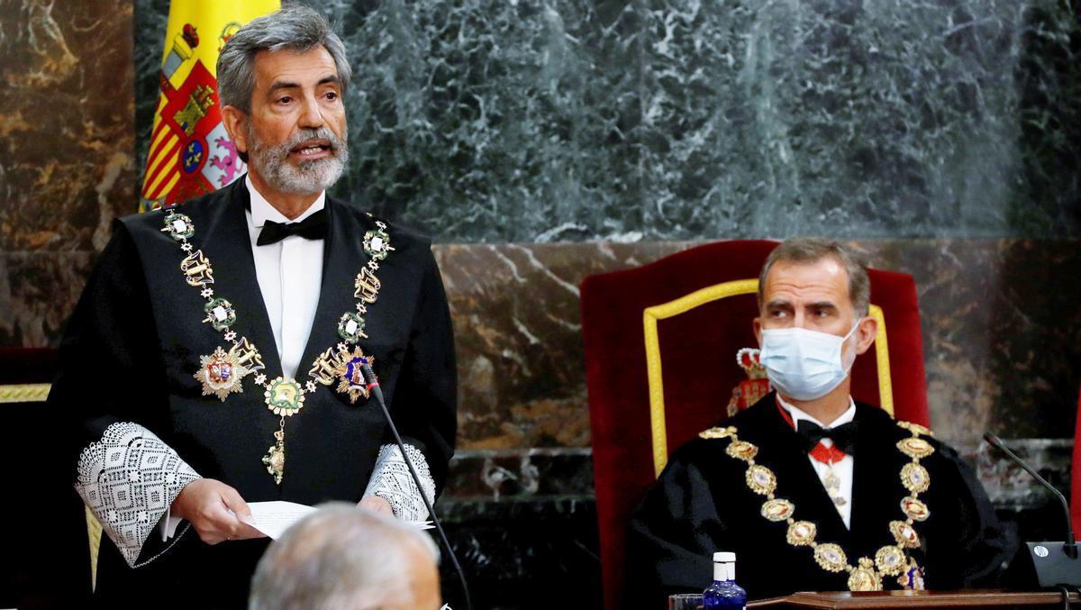 Carlos Lesmes en presencia del rey Felipe VI, durante la inauguración del pasado año judicial.