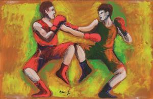 Ilustración de Dario Fo para su novela 'El campeón prohibido'.