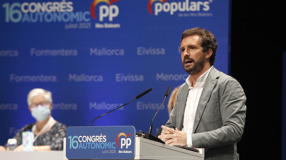 El líder del PP, Pablo Casado, interviene en la clausura del XVI congreso del PP de Baleares