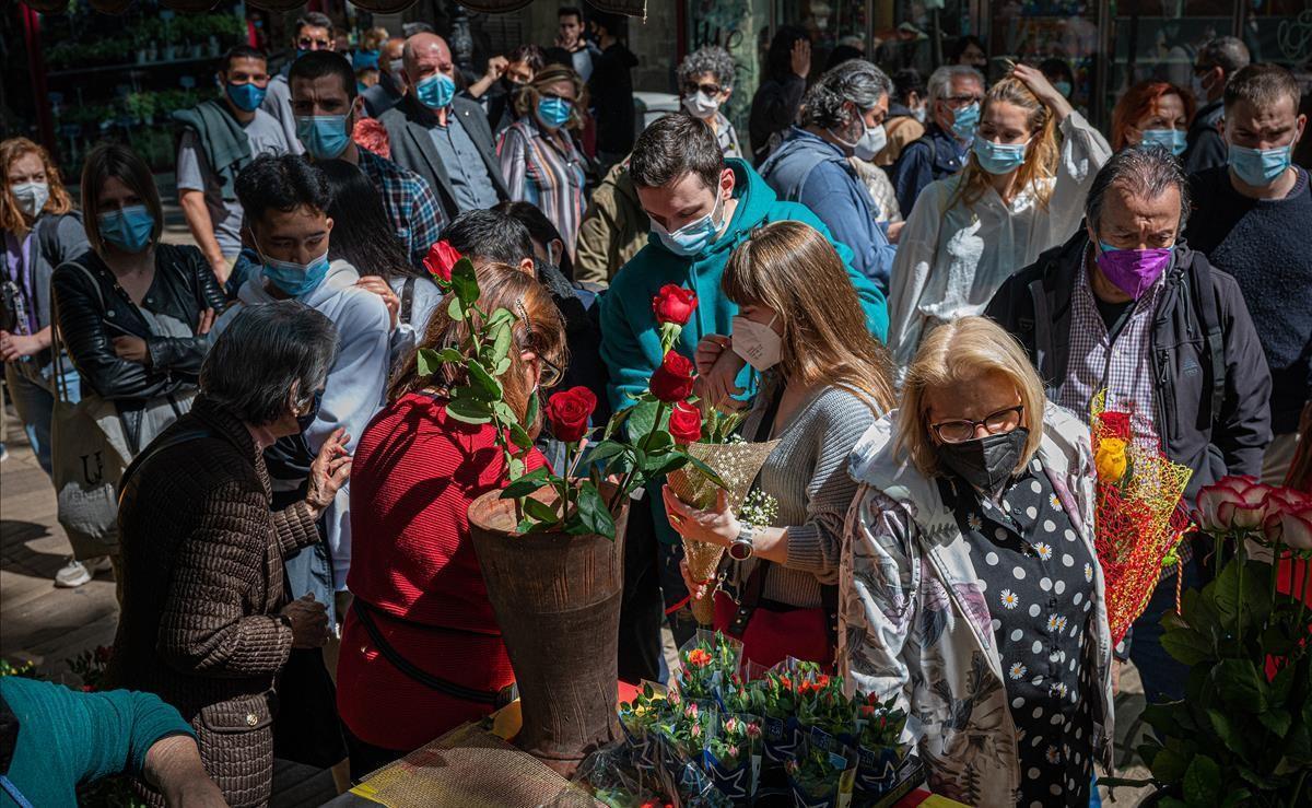 La Rambla de Barcelona sin las tradicionales paradas de libros.