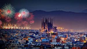 Barcelona imagen virtual del Ajuntament de Barcelona de los fuegos artificiales de fin de año.
