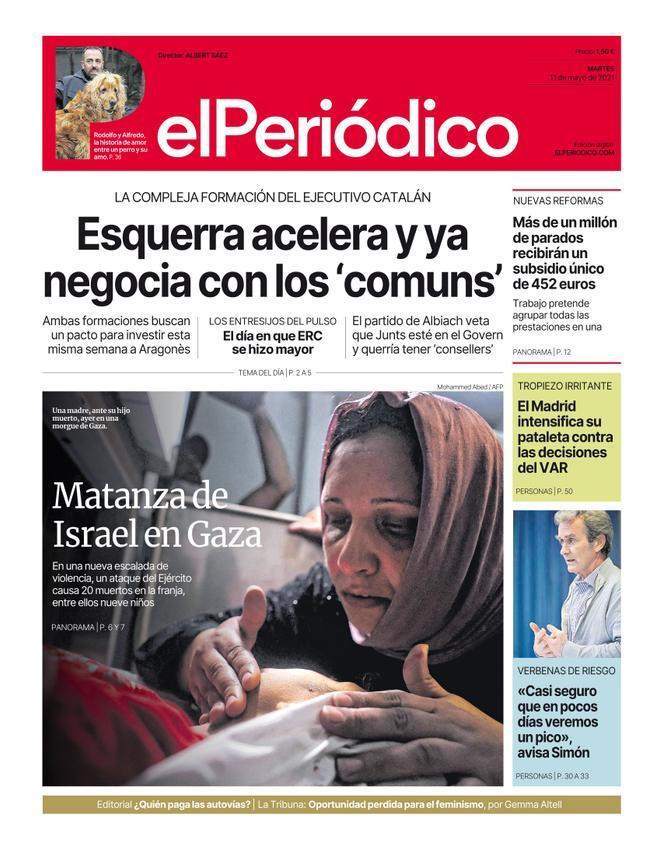 La portada de EL PERIÓDICO del 11 de mayo de 2021