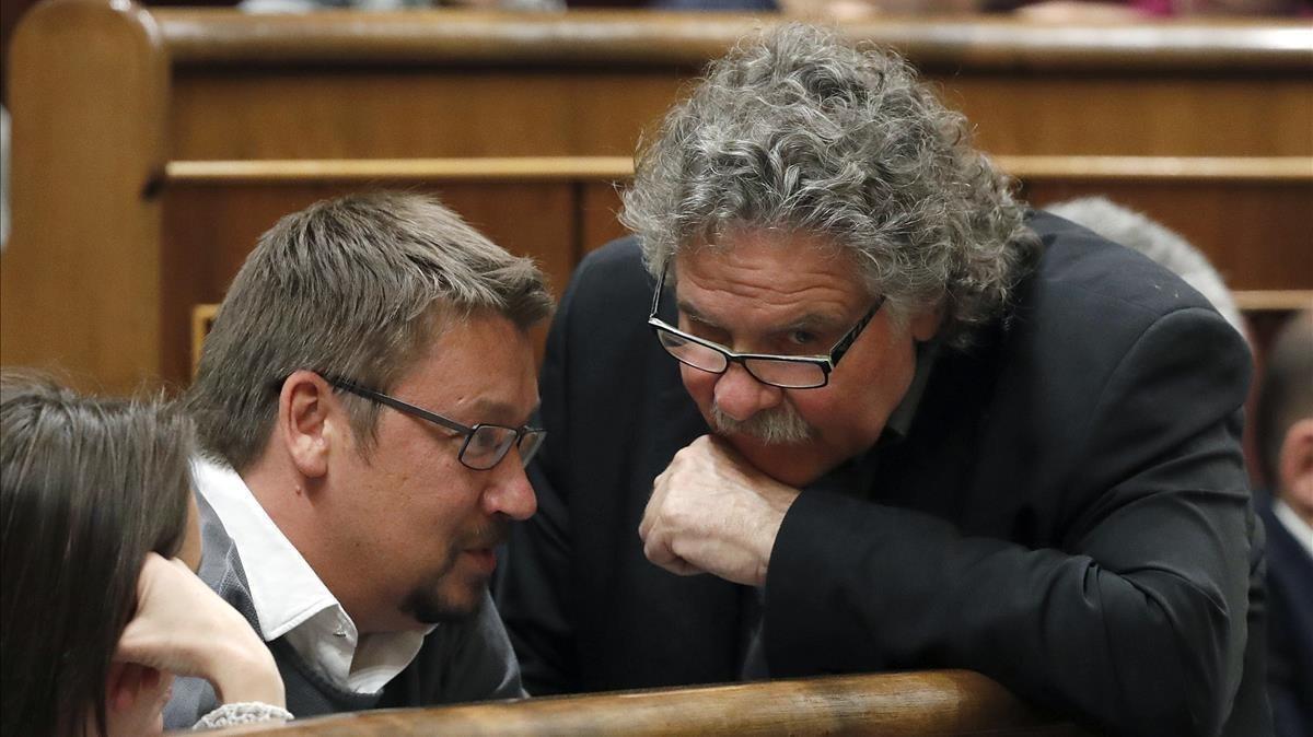 Xavier Domènech y Joan Tardà, en el Congreso de los Diputados, hace dos años.