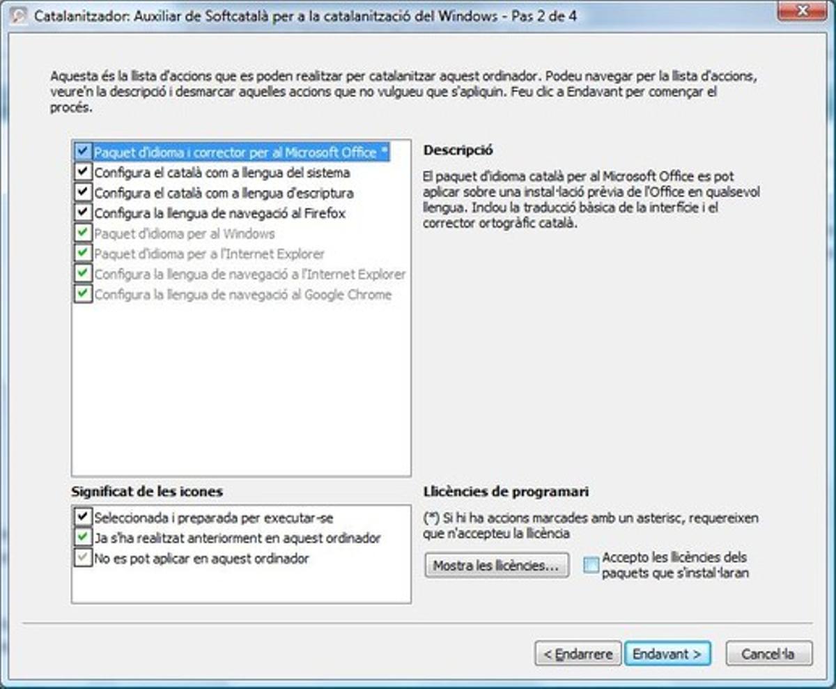 Segunda pantalla del Catalanitzador, que permite elegir opciones.