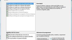 Segona pantalla del Catalanitzador, que permet elegir opcions.