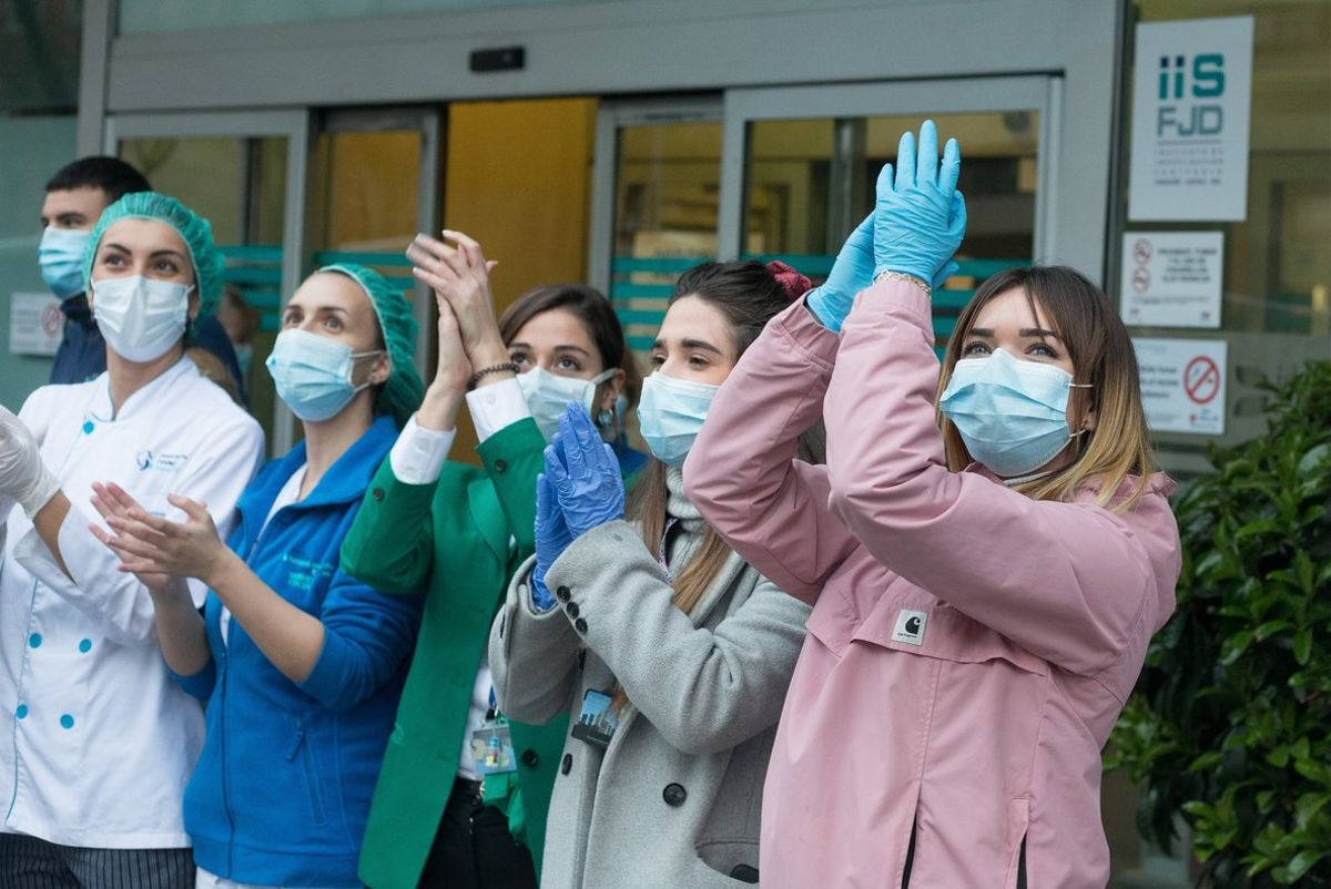 Enfermeras de la Fundación Jiménez Díaz, en Madrid.