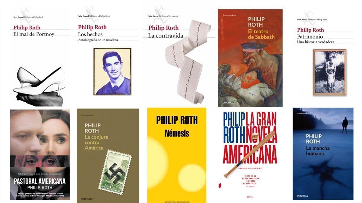 Portadas de diez novelas de Philip Roth que hay que leer.