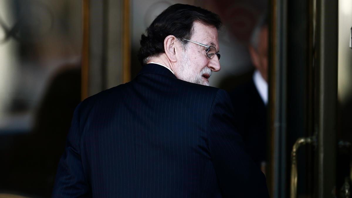 El expresidente Mariano Rajoy, a su llegada al Tribunal Supremo.