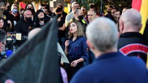 Isabel M. Peralta en el acto homenaje a la División Azul.