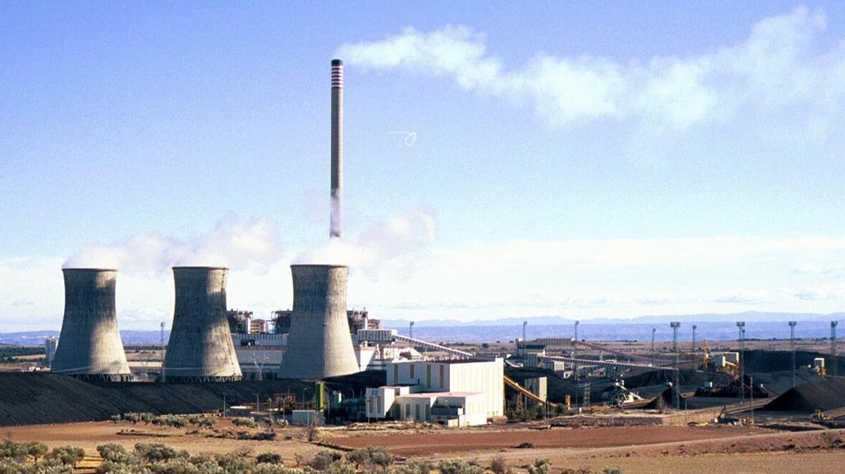 La central térmica de carbón de Andorra (Teruel), que podríacerrar en 2020 debido a sus emisiones de CO2.