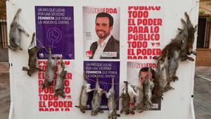Pengen conills morts en un cartell electoral d'Alberto Garzón (IU)