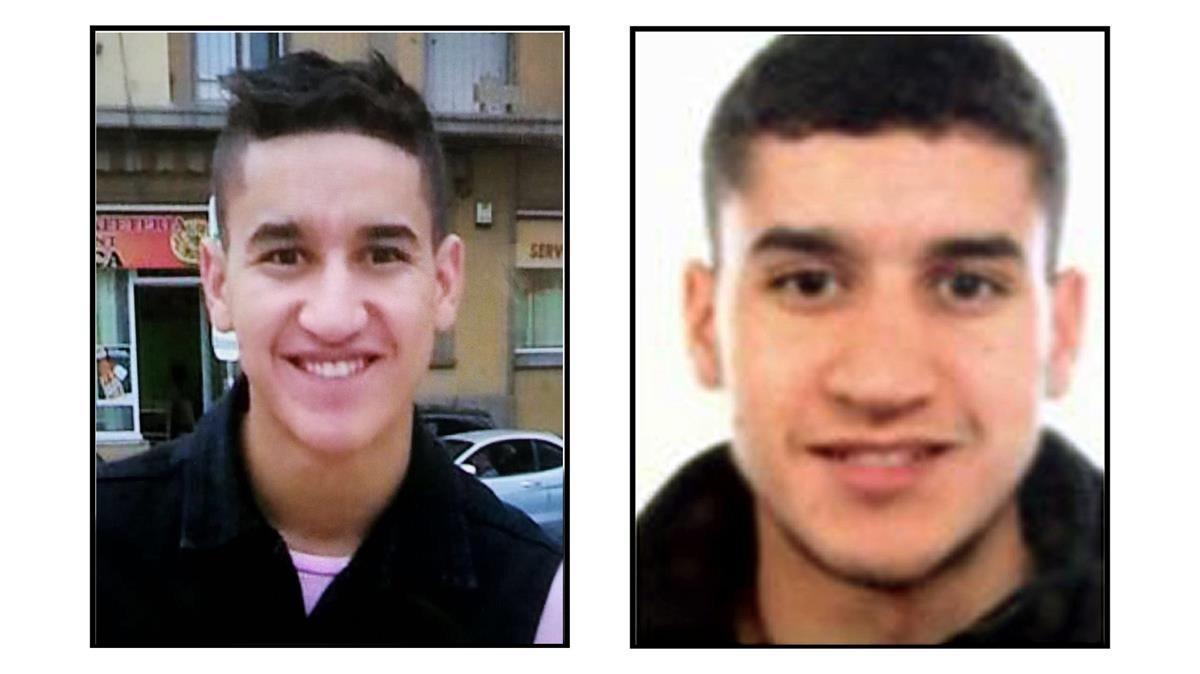 Dos fotografías deYounes Abauyaaqoub, el presunto autor de la matanza de Barcelona, aún huido.