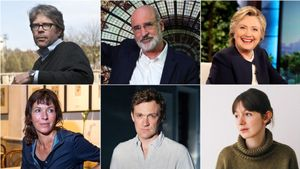Los escritores Jonathan Franzen, Fernando Aramburu, Hillary Clinton, Rachel Cusk, Patrick Radden Keeffe y Sally Rooney.