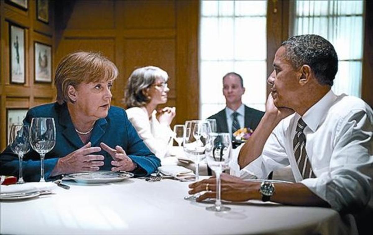Obama y Merkel cenan en privado en un restaurante de Washington, en el 2011.