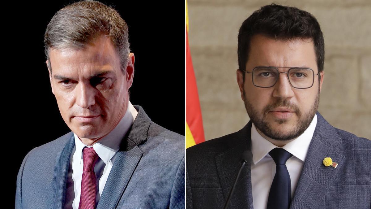 Mesa de diálogo y crisis de Govern. En la foto, Pedro Sánchez y Pere Aragonès.