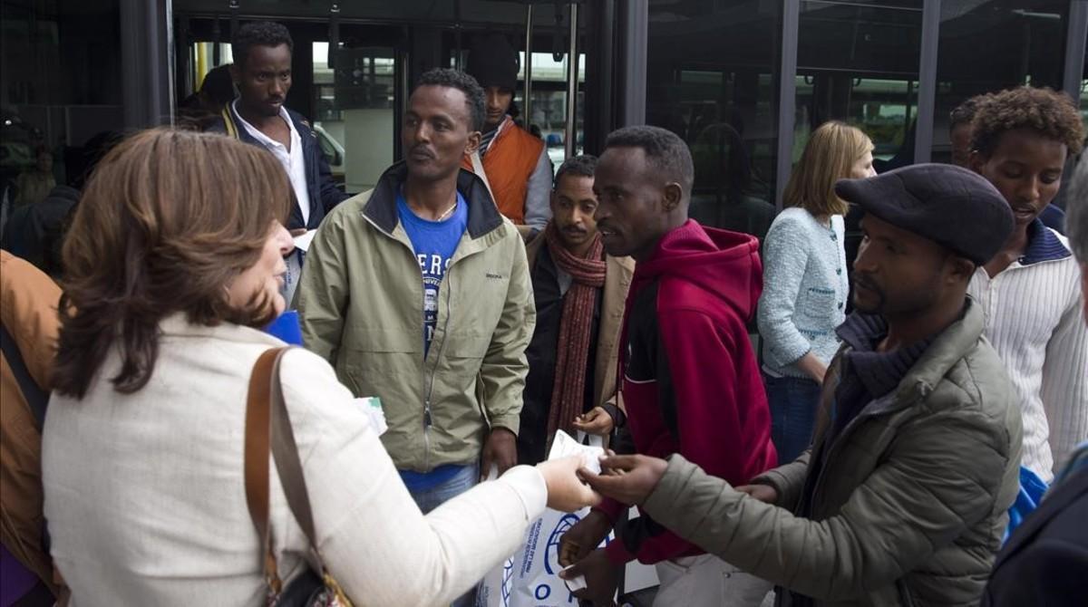 Llegada de los refugiados eritreos procedentes de Italia, en Madrid.