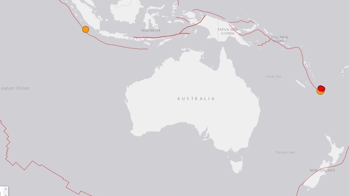 Puntos donde se han localizado los terremotos, de magnitudes hasta 7,7 grados, este miércoles.