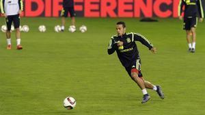 Thiago, en un entrenamiento con la selección española.