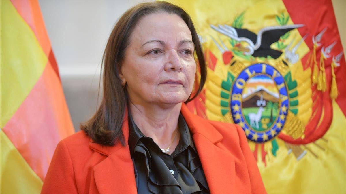La ministra de Salud de Bolivia, Eidy Roca, en un acto público el pasado 28 de mayo.