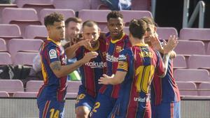 Ansu Fati empata durante el partido de liga entre el FC Barcelona Barca y el Real Madrid