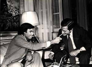 Felipe González y Adolfo Suárez, en un encuentro en la Moncloa en junio de 1977, tras las primeras elecciones democráticas.