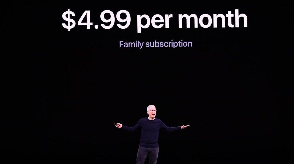 El consejero delegado de Apple, Tim Cook, en la presentación de Apple TV+.