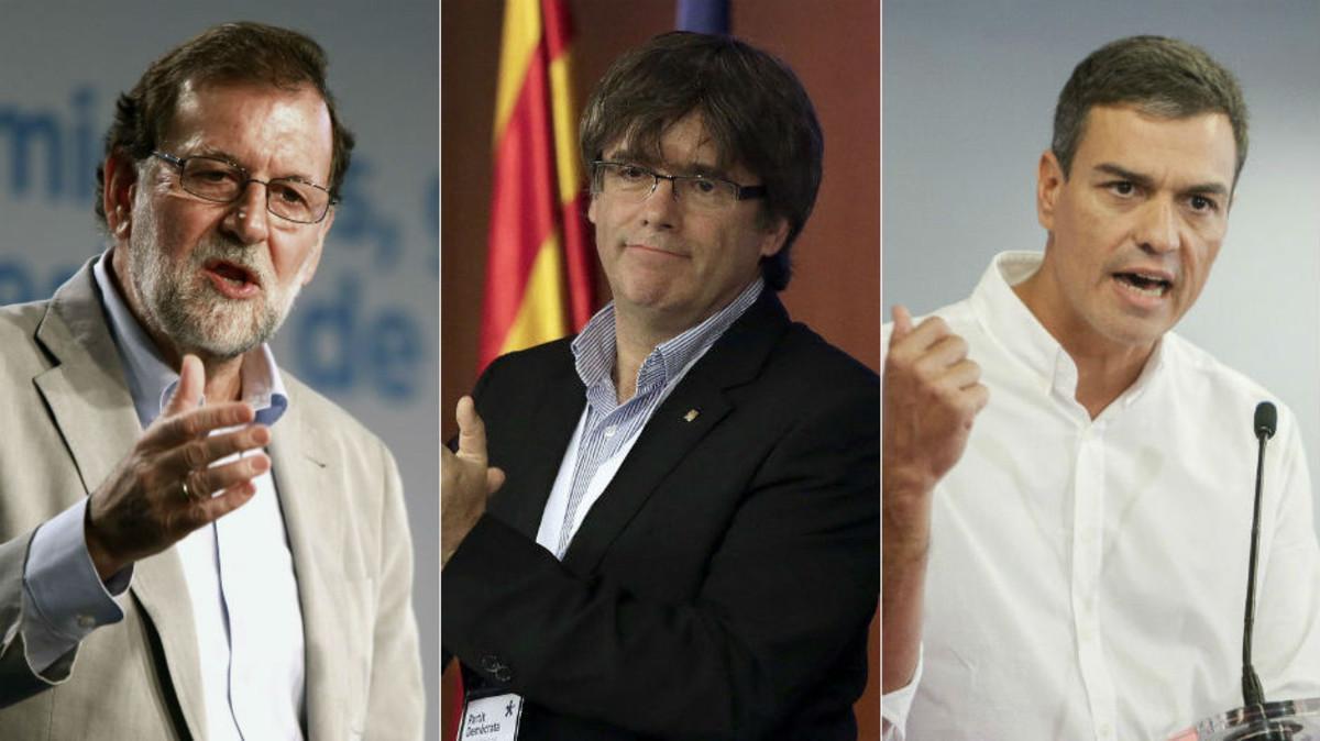 Mariano Rajoy, Carles Puigdemont y Pedro Sánchez.