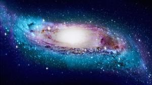 Representación artística de la Vía Láctea con los extremos deformados