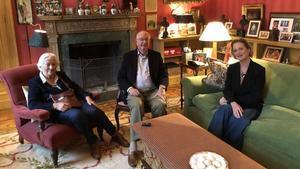 Los reyes eméritos de Bélgica, Alberto II y Paola, con la princesa Delphine.