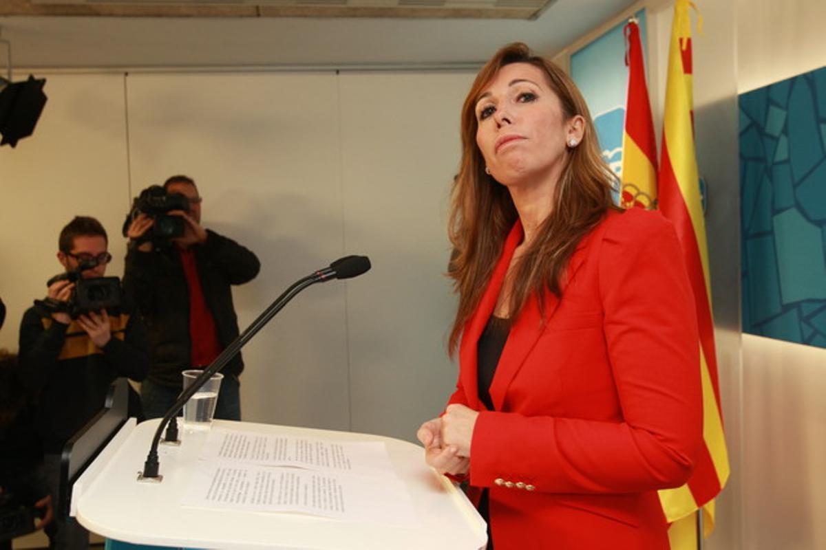 Alicia Sánchez-Camacho, durante una rueda de prensa, el pasado 11 de febrero, en la sede del PP.