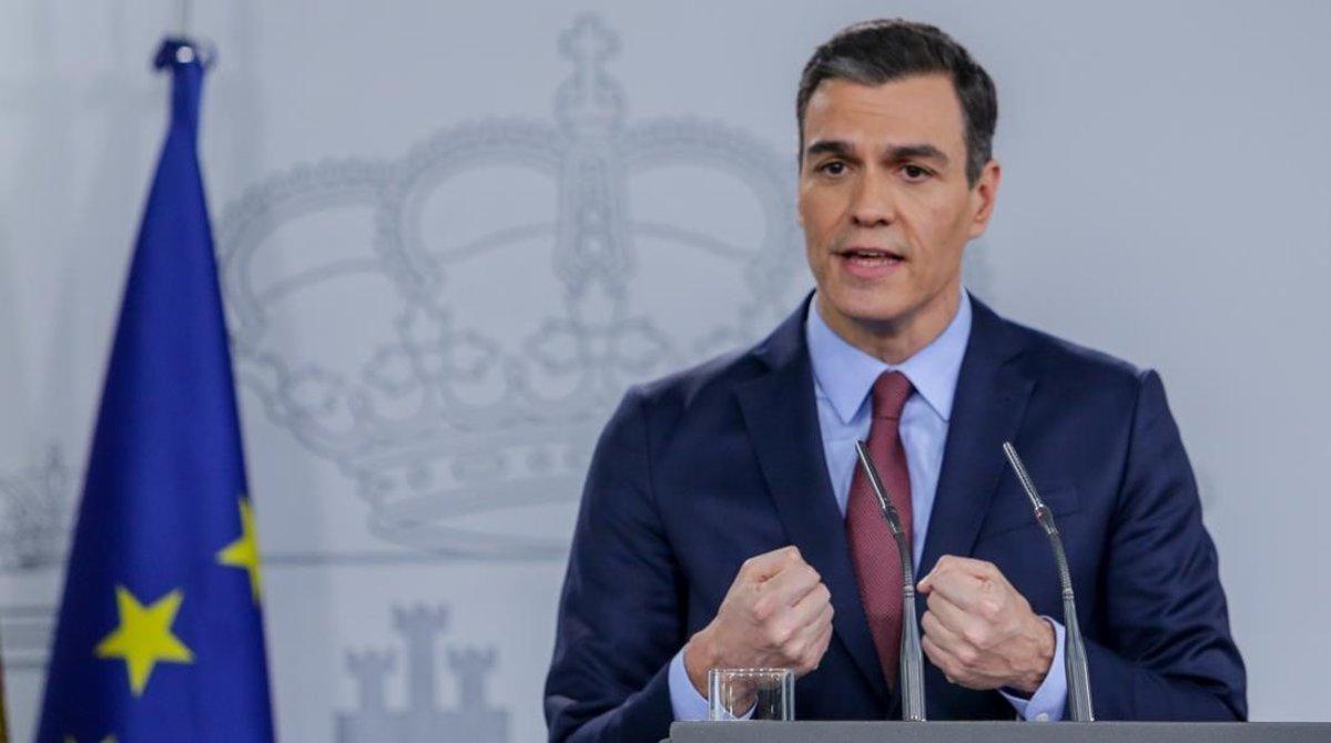 El presidente del Gobierno, Pedro Sánchez, en su comparecencia este jueves desde la Moncloa.