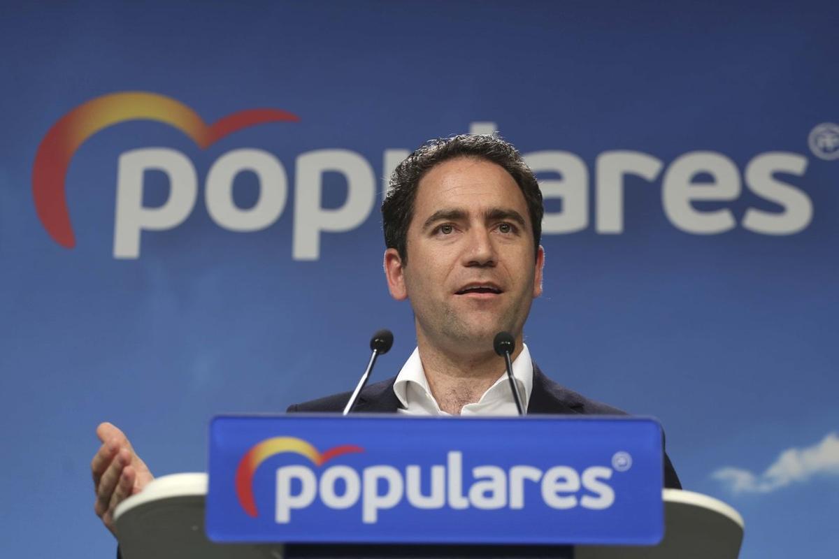 El secretario general del PP, Teodoro García Egea, durante la rueda de prensa tras el comité de dirección de este lunes.