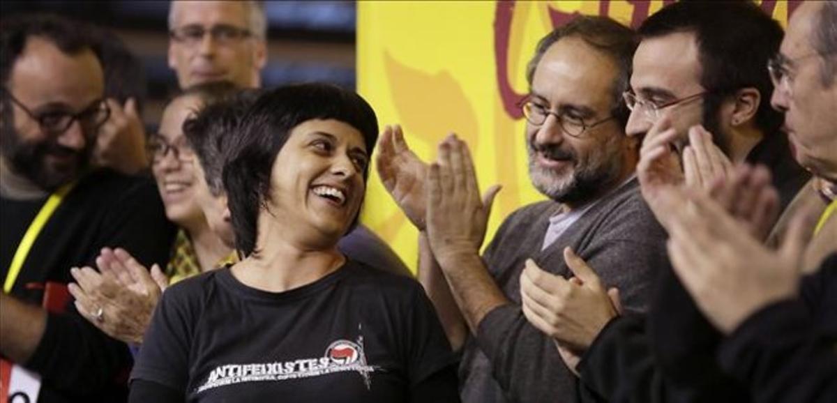Anna Gabriel, en la reunión de la CUP en Manresa.