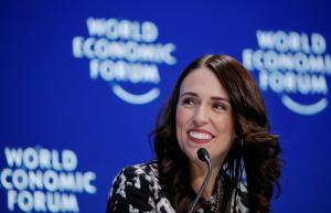 La primera ministra de Nueva Zelanda, Jacinda Ardern, durante su intervención durante el Foro de Davos, en enero del 2019.