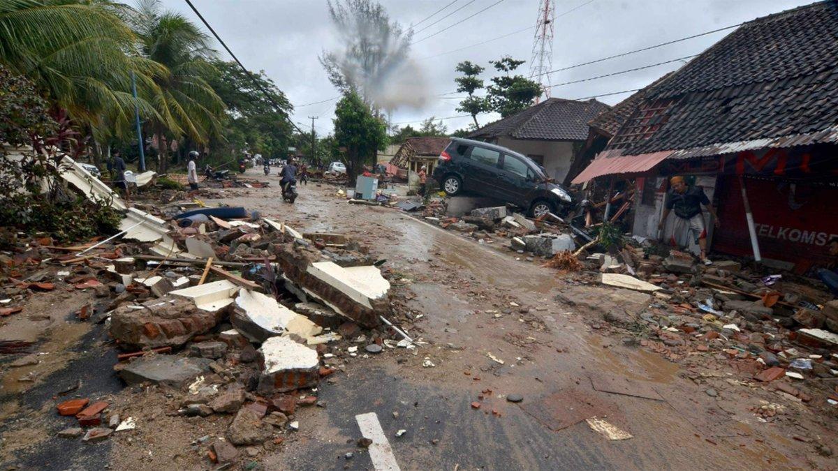 Efectos del tsunami en Indonesia.