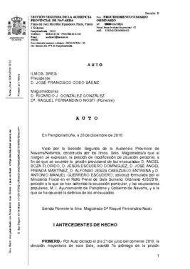 Fallo de la Audiencia de Navarra desestimando la prisión para 'La manada'.