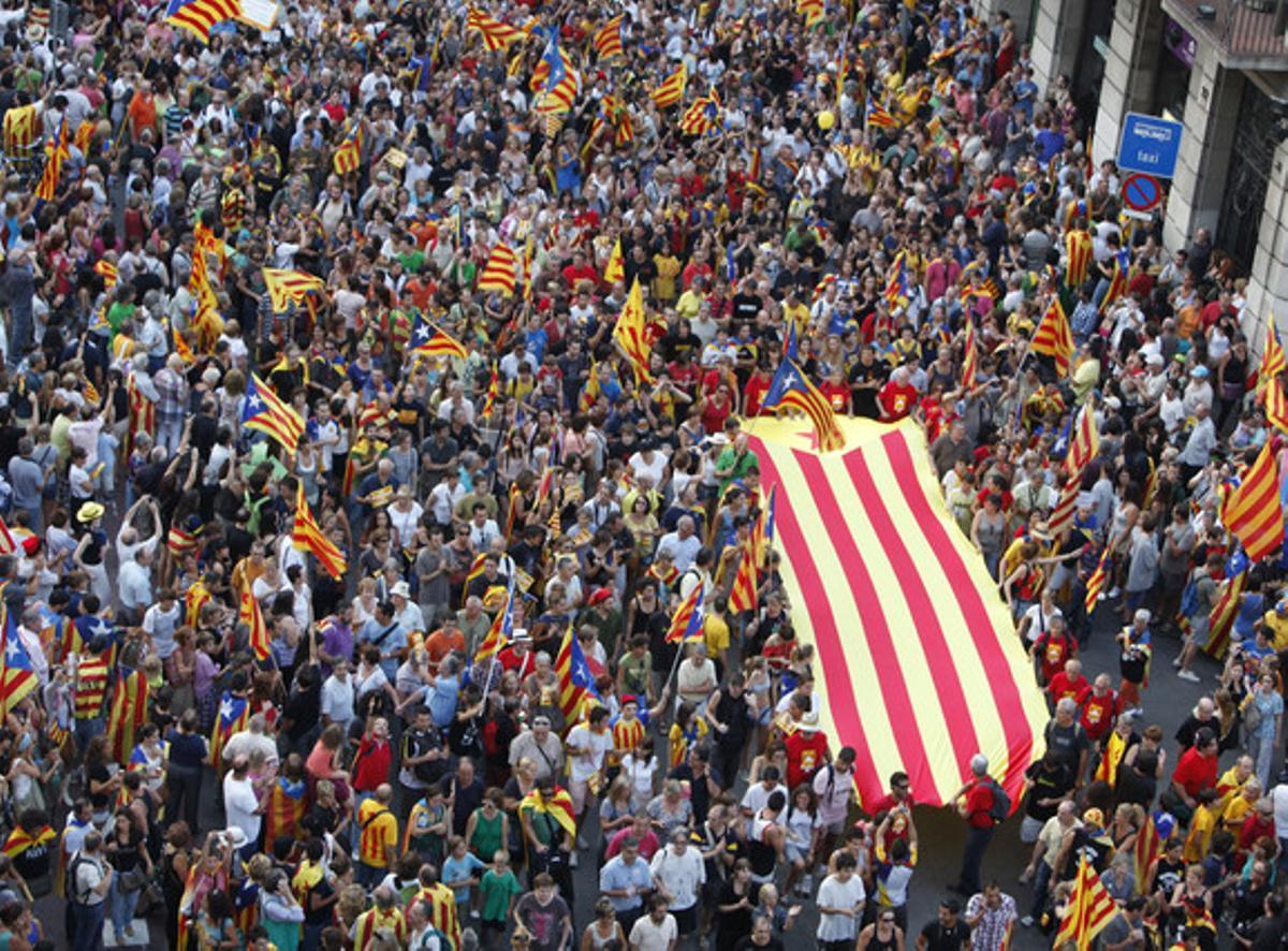 La manifestación independentista de septiembre del 2012.
