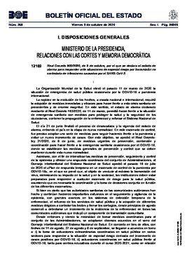Real decreto 900/2020, de 9 de octubre, por el que se declara el estado de alarma en Madrid capital y en otros ocho municipios de la región.