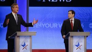 Jeb Bush y Marco Rubio, en el debate del sábado.